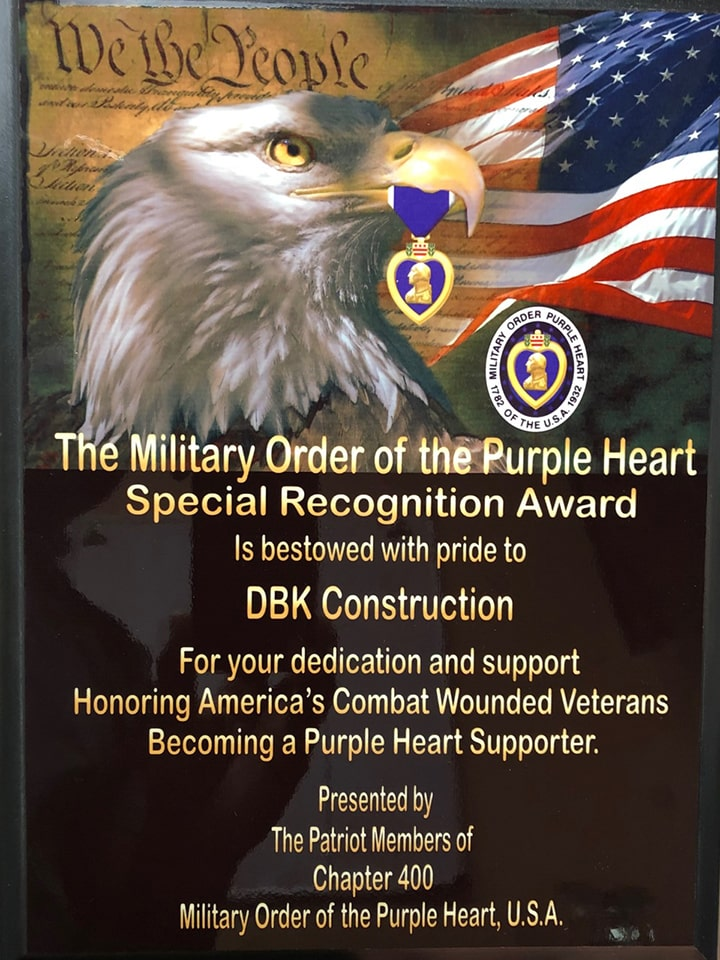DBK Construction Purple Heart Plaque