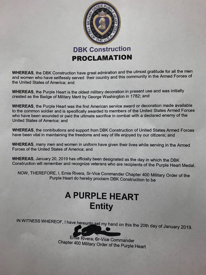DBK Construction Purple Heart Entity