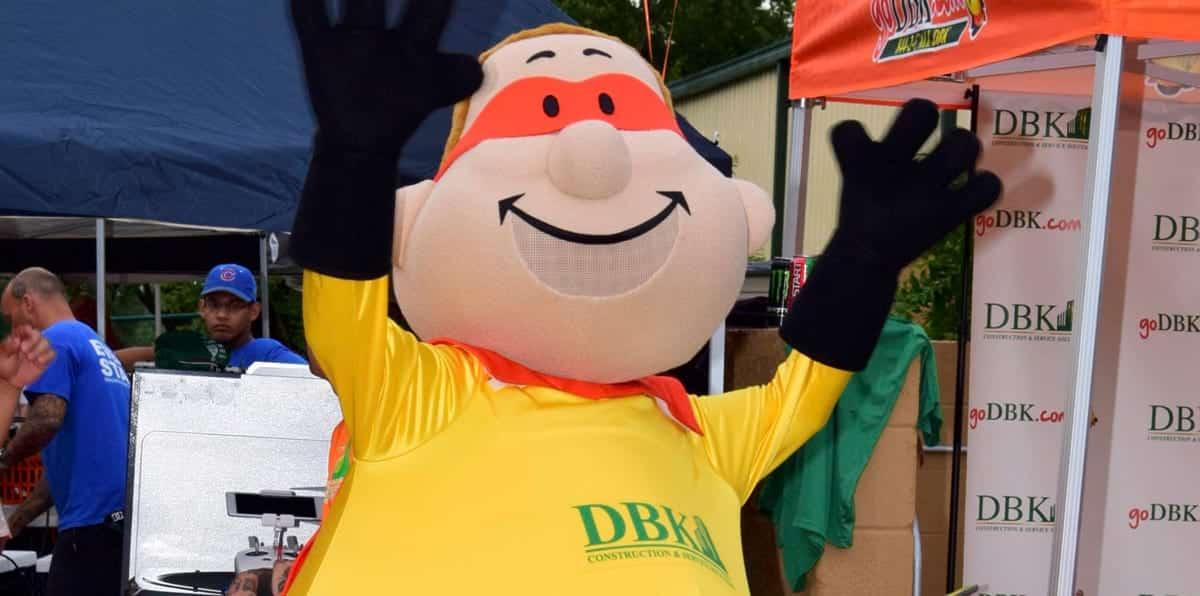 DBK Construction Bert Mascot Posing