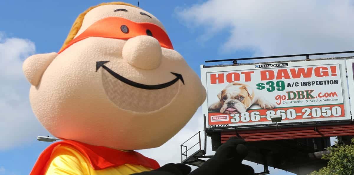 DBK Construction Bert Mascot Billboard